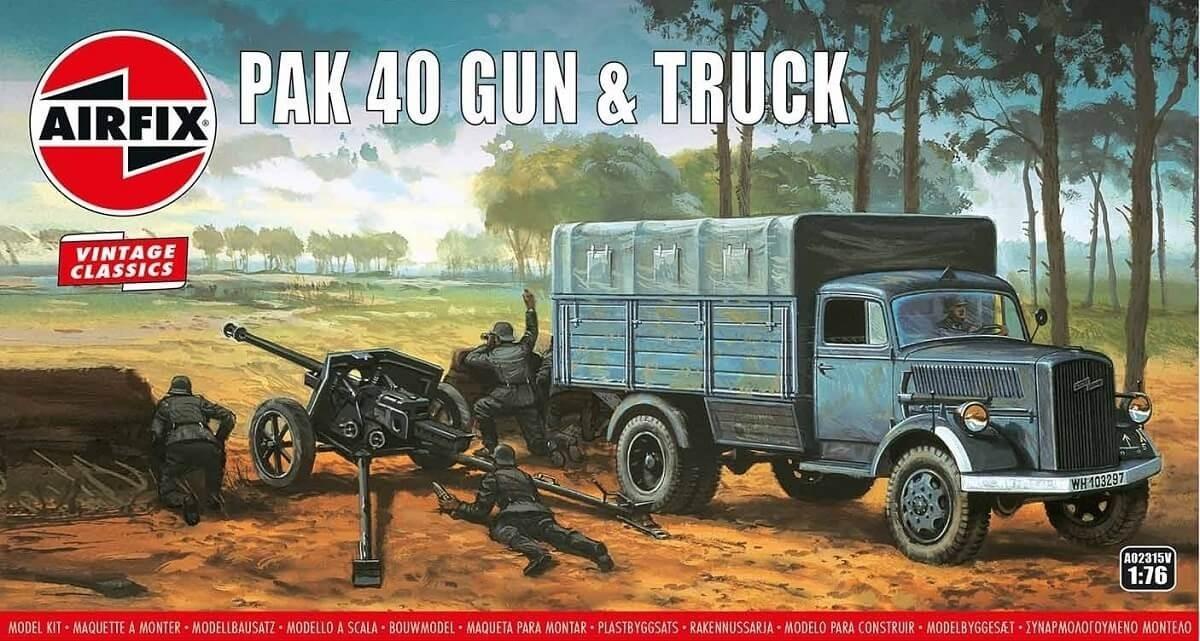 Airfix 1:76 Airfix Vintage Classics - PAK 40 Gun & Truck Plastic Model Kit