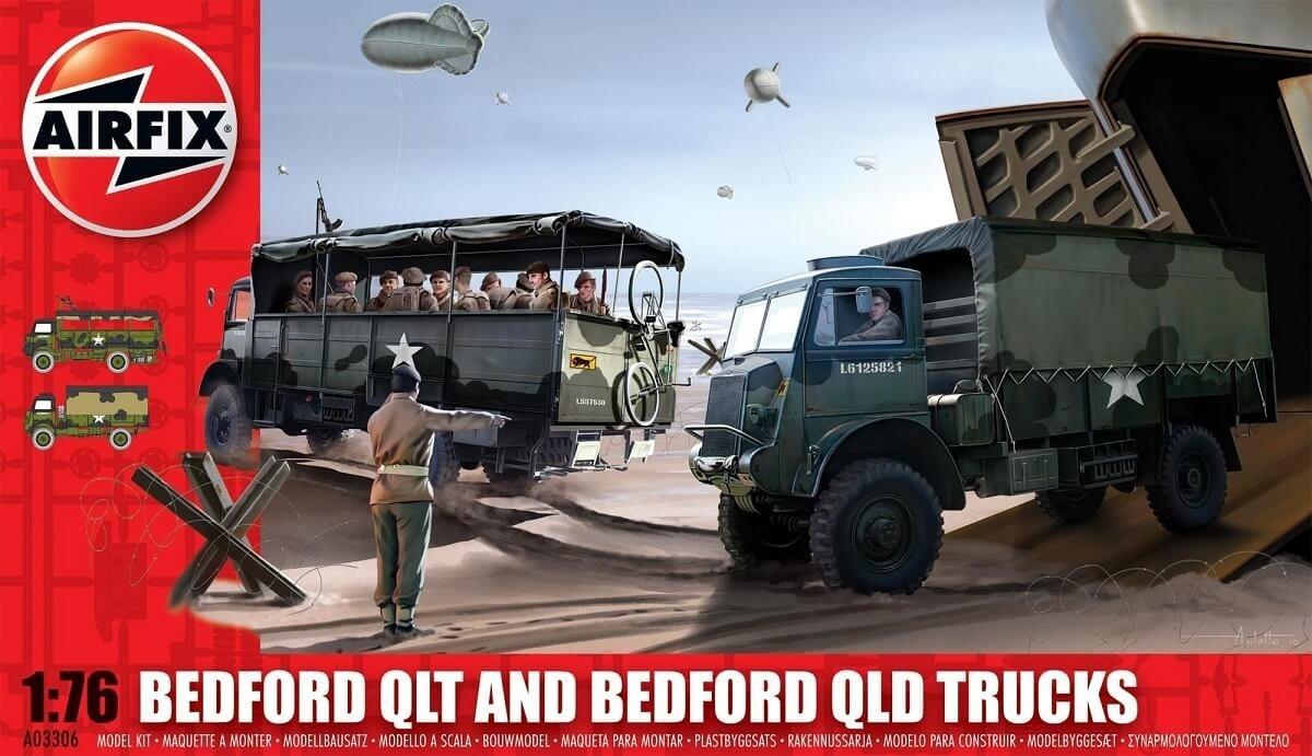 Airfix 1:76 Bedford QLT and Bedford QLD Trucks Plastic Model Kit