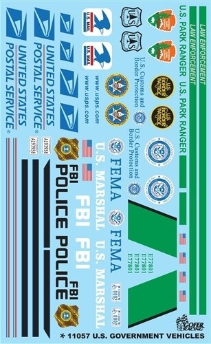 Gofer Racing Decals 1:24-1:25 US Government Vehicles