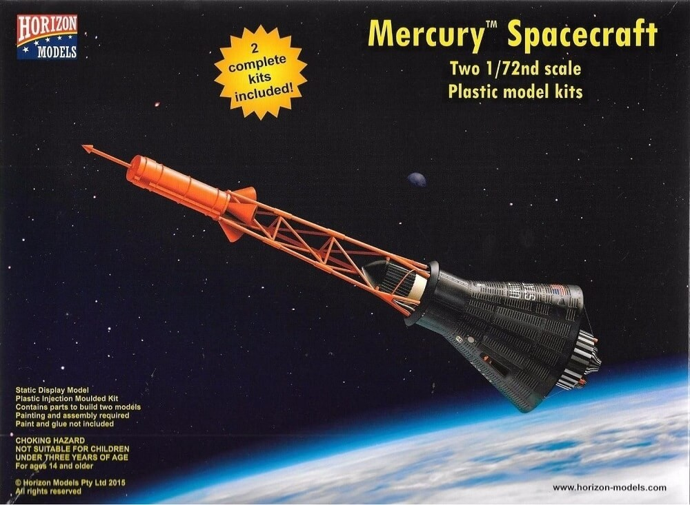 Horizon Models 1/72 Mercury America's First Manned Spacecraft (2 Kits) Plastic Model Kit