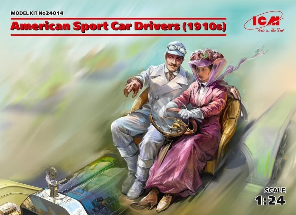 ICM 1:24 American Sport Car Drivers 1910's Plastic Model Kit