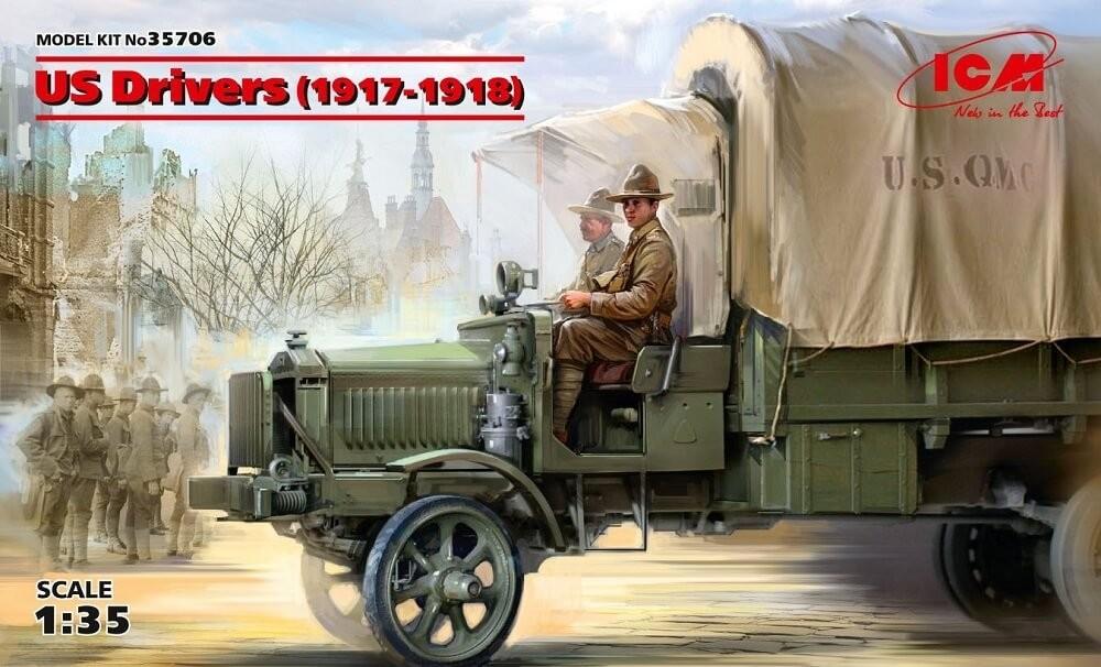 ICM Models 1/35 US Drivers 1917-1918 (2) Plastic Model Kit
