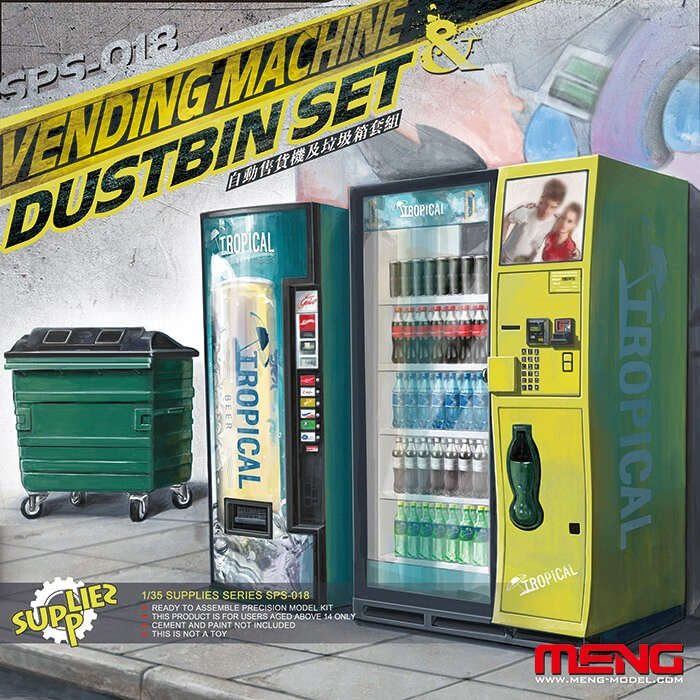 1:35 Vending Machine and Dumpster Set Model Kit