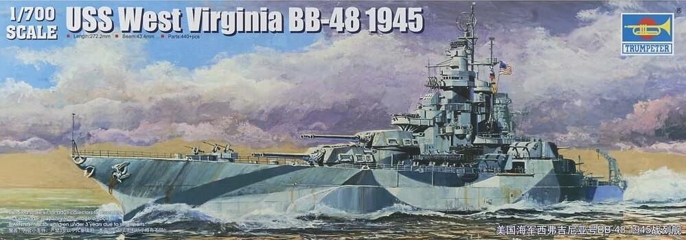 1:700 USS West Virginia BB-44 Battleship Plastic Model Kit
