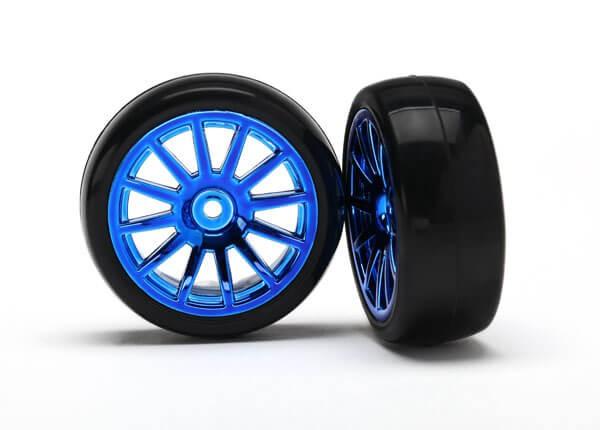 Blue 12 Spoke Wheels and Tires (2) LaTrax Rally