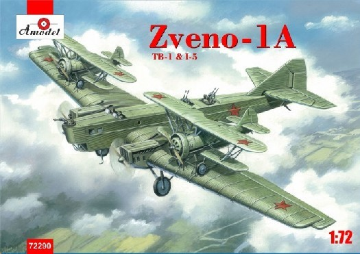 Amodel 1/72 Soviet Zveno 1A TB1 Mothership Aircraft w/2 I5 Soviet Fighters Plastic Model Kit