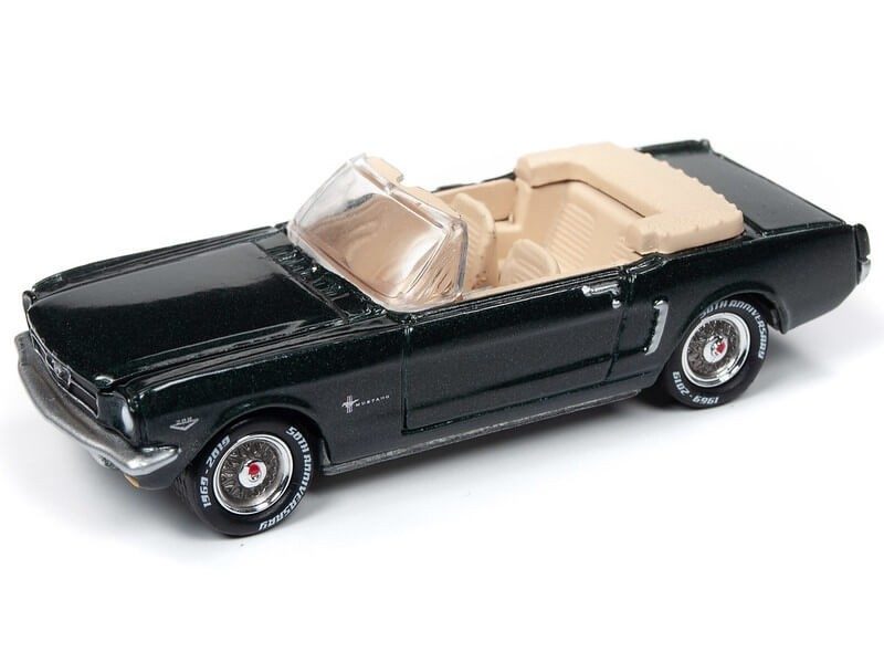 Johnny Lightning 1/64 1964 1/2 Ford Mustang Convertible Cascade Green Die-Cast