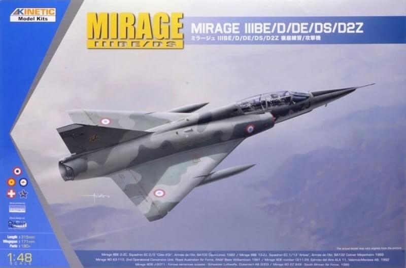 Kinetic Models 1:48 Mirage IIIBE/D/DE/DS/D2Z Plastic Model Kit