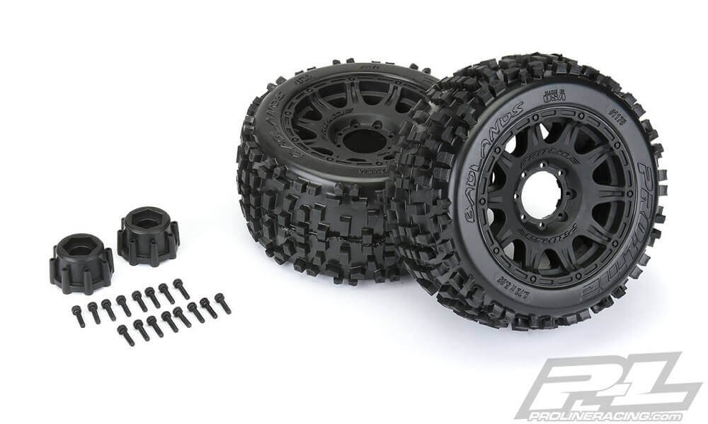 "Pro-Line Badlands 3.8"" Tires Mounted Raid 8x32 Wheels 17mm"