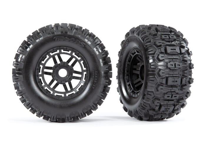 Traxxas Maxx Mounted Sledgehammer Tires & Black Wheels