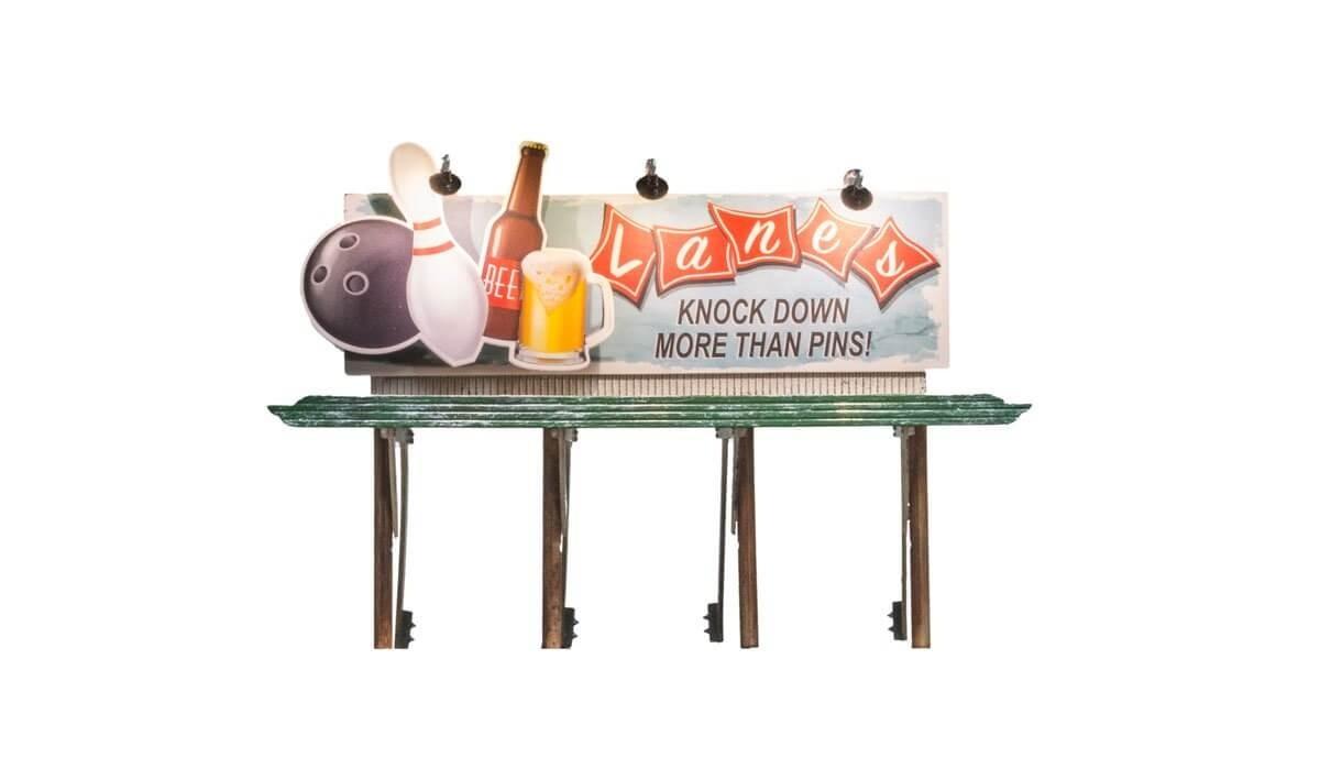 Woodland Scenics Just Plug HO Billboard Lanes Bowling & Bar