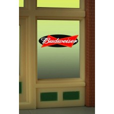 Micro Structures HO O Budweiser Beer Flashing Neon Window Sign