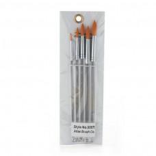 Atlas Brush Co 5 Pc Golden Taklon Round Brush Set