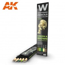 AK Interactive Weathering Pencils: Green & Brown Set