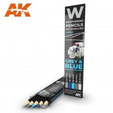 AK Interactive Weathering Pencils: Grey & Blue Set