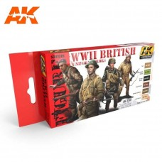 AK Interactive WWII British Uniforms Acrylic Paint Set