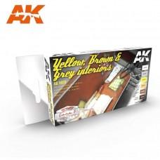 AK Interactive Yellow, Brown & Grey Interiors Paint Set