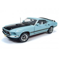 Auto World 1/18 1969 Ford Mustang Mach 1 Blue Die-Cast Car