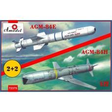 A Model 1:72 AGM84E & AGM84H Missiles on Trolleys Plastic Model Kit