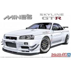 Aoshima 1/24 Nissan Mine's BNR34 Skyline GT-R '02 Plastic Model Kit