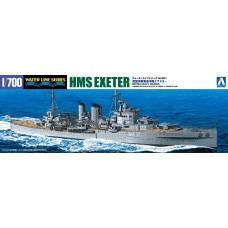 Aoshima 1:700 HMS Exeter Heavy Cruiser Waterline Plastic Model Kit