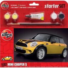 Airfix 1/32 MINI Cooper S Starter Set - Yellow Plastic Model Kit