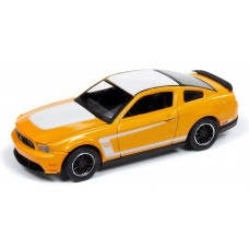 Auto World 1/64 2012 Ford Boss Mustang Yellow Diecast Car