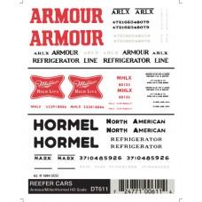 Dry transfer HO Reefer/Armour/Miller/Hormel DT611
