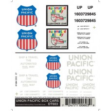 Union Pacific Box Cars Dry Transfer Decals DT603
