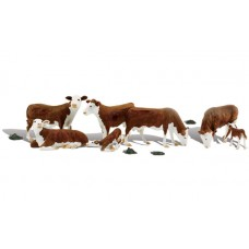 Woodland Scenics O Scale Hereferd Cows Figures A2767