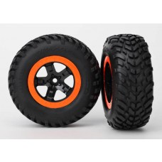 Traxxas SCT Orange Beadlock Wheels & Tires (2) 5863