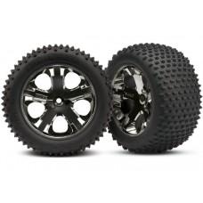 Traxxas Rear Black Chrome Wheels and Alias tires (2)
