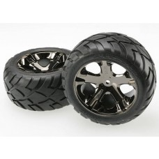 Traxxas Rear Black Chrome Wheels & Anaconda Tires (2)