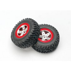 SCT Red Beadlock Wheels and Tires (2)