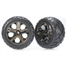 Traxxas Front Black Chrome Wheels & Anaconda Tires (2)