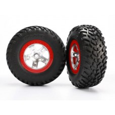 SCT Red Beadlock Wheels & S1 Racing Tires (2)