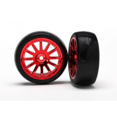 Red 12 Spoke Wheels and Tires (2) LaTrax Rally