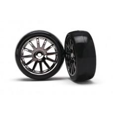 Black 12 Spoke Wheels and Tires (2) LaTrax Rally
