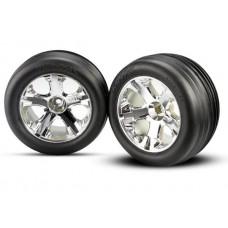 Traxxas Front Chrome wheels and Alias tires (2)