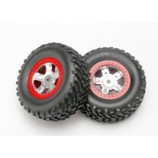 SCT Red Beadlock Wheels and Tires 1:16 Slash (2)