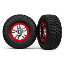 Traxxas SCT Red Beadlock Wheels and Tires (2) 6873R