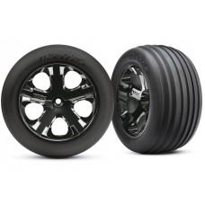 Traxxas Front Black Chrome Wheels and Alias Tires (2)