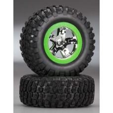 SCT Green Beadlock Wheels & Tires (2)