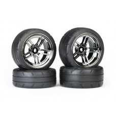 1.9 Response Tires & Split Spoke Black Chrome Wheels Set