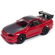 Auto World HO Slot Car 1999 Nissan Skyline GT-R R34 Red
