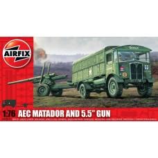 1:76 AEC Matador & 5.5 Gun Plastic Model Kit