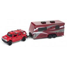 Johnny Lightning Hummer H2 Red w/Camper Car Trailer Die-Cast Car