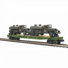 MTH Electric Trains O Scale Flat Car w/GMC 353 6x6 Tank Truck
