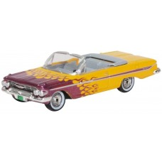 Oxford Diecast HO Scale 1961 Chrysler 300 Convertible Red Flames