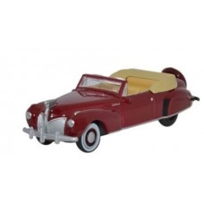 Oxford Diecast HO Scale 1941 Lincoln Continental Convertible Maroon